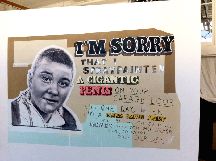 Apology Number 40. Installed directly onto a wall at The Compound Gallery.
